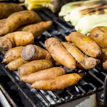 Sweet potato on barbecue