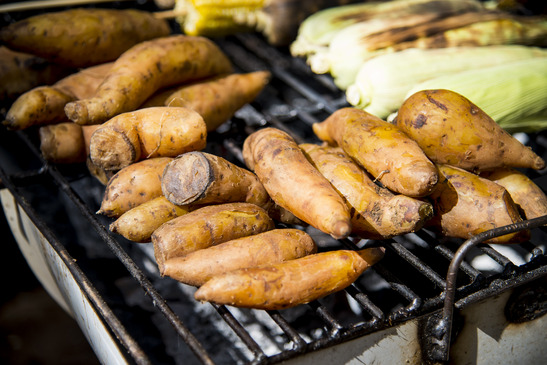 Sweet potato on barbecue